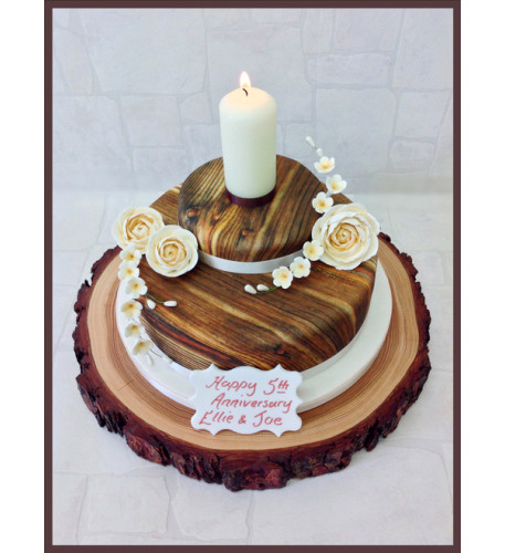 Wooden Hearts Luxury Cake